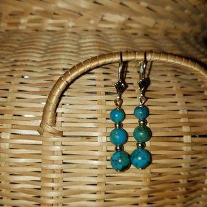 14 KT Gold Turquoise Earrings